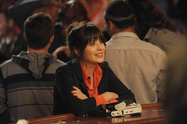 "NEW GIRL: Jess (Zooey Deschanel) visits Nick during his big marketing campaign to promote the bar in the ""Guys Night"" episode of NEW GIRL airing Tuesday, March 19 (9:00-9:30 PM ET/PT) on FOX. ©2013 Fox Broadcasting Co. Cr: Ray Mickshaw/FOX"