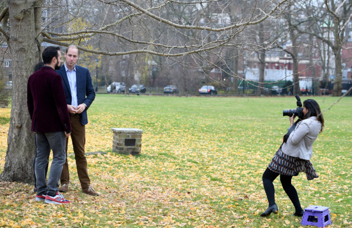 EVGENY LEBEDEV WITH HRH PRINCE WILLIAM AND KUMBA KPAKIMA BEING PHOTOGRAPHED BY SAMIA MEAH TODAY PICTURE JEREMY SELWYN 08/12/2016